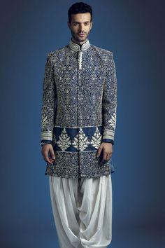 M13-14 - Raw silk sherwani with silk patiala and all over dori work