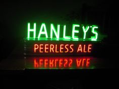 James Hanley Beer Ale Neon Sign 1930's Rare  mounted with Metal Can Housing