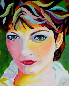 Self-portrait of artist in early 20's. The highlights in the hair and face bring out my love of the many colors nature.