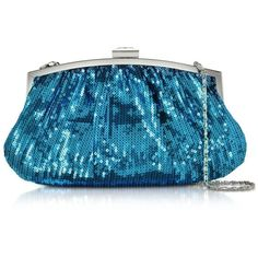Julia Cocco' Handbags Micro Sequins Clutch w/Chain Strap ($105) ❤ liked on Polyvore featuring bags, handbags, clutches, turquoise, chain strap handbag, chain handle handbags, party handbags, sequin handbags and party purses