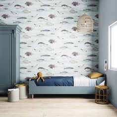 Fish Classic Wallpaper in a Blue Green colourway by Sian Zeng. Hand Painted Wallpaper, Fish Wallpaper, Wallpaper Size, More Wallpaper, Painting Wallpaper, Wallpaper Samples, Colorful Wallpaper, Classic Wallpaper, Blue And Green