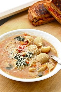 A rustic Tuscan-style Sausage Soup that feeds a small army for about $1.75 per serving. Freezes beautifully. I would use low-fat chicken sausage of some kind.