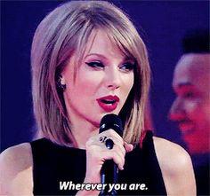 """Taylor Swift thanks Ed Sheeran after winning Best International Female artist at the 2015 Brit Awards."""