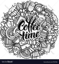 Coffee Doodle Design vector image on VectorStock Cool Art Drawings, Doodle Drawings, Cosmetics Names Ideas, Mural Cafe, Doodle Art For Beginners, Coffee Doodle, Coffee Illustration, Manga Illustration, Coffee Artwork