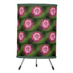 Grass Green Rosy Pink Flowers Nature Crochet Print Tripod Lamp - original gifts diy cyo customize