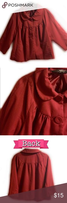"""EUC Size XXL Cropped Brick Red Jacket by Mossimo In Excellent Preloved Condition, this is a brick red medium weight cropped length """"dressy casual"""" jacket that features side pockets, covered matching buttons to front & sleeves, and a beautiful attached lining! Size XXL by Mossimo! Great paired with jeans or dressed up over a little dress and heels! Please see pictures for additional details and labels, thanks! Mossimo Supply Co Jackets & Coats"""