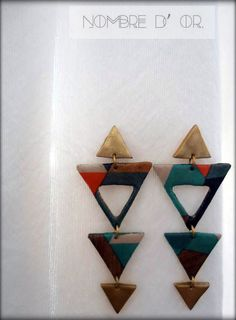 Polymer Clay Earrings 'Triangles' with decoupage  technique.