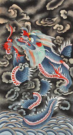 Korean Art, Animal Paintings, Folk Art, Dragon, Fancy, Illustration, Animals, Image, Art Background
