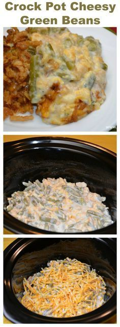 #Crock Pot Cheesy Green Beans How do I make my Green Beans even better without using my oven? I use my crock pot and add plenty of cheese to make this Crock Pot Cheesy Green Beans.