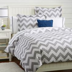 Chevron Duvet Cover + Sham, Light Gray, $28.50-$109, Pottern Barn Kids. DANA TYDINGS PICK.