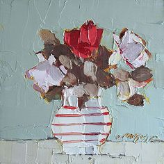 Mhairi McGregor RSW, Striped Jug with Red Flowers