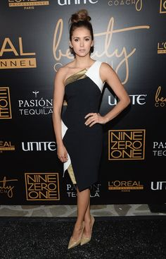 Pin for Later: 97 Reasons Why Nina Dobrev Will Be Just Fine Post-TVD  It was black, white, and gold for Nina at the Nine Zero One salon launch party, where she stepped out in an Andrew Gn dress and Jimmy Choo heels.