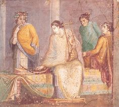 Fresco from an unknown location in #Pompeii (?). It shows a woman, surrounded by other women, with a harp and a kithara..