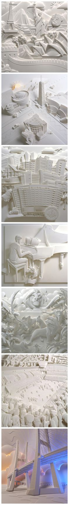 Can't find artist. From: Top Creative Works » 7 delicate paper engraving artworks