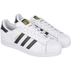 adidas The Superstar Sneaker in White and Black ($80) ❤ liked on Polyvore featuring men's fashion, men's shoes, men's sneakers, shoes, chaussure, mens black and white sneakers, mens lace up shoes, adidas mens shoes, black white mens dress shoes and mens white and black dress shoes