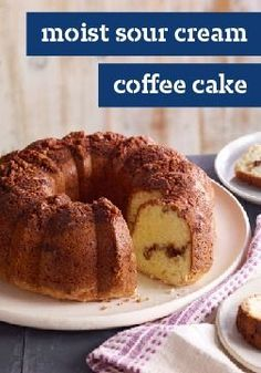 Moist Sour Cream Coffee Cake – The sour cream in this cake batter helps make a tender moist cake, laced and topped with a sweet pecan, brown sugar and cinnamon streusel.