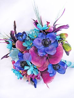 Blue Turquoise Purple Wedding Flowers Bridal by ExpressionsFloral