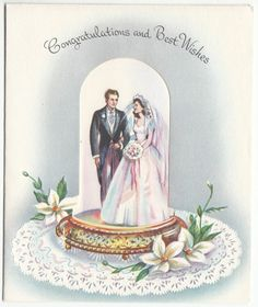 Vintage Lovely Bride and Grrom Under Dome Wedding Greeting Card Vintage Wedding Cards, Vintage Greeting Cards, Vintage Postcards, Vintage Weddings, Vintage Images, Wedding Wishes Quotes, Rainbow Wedding Dress, Wedding Anniversary Cards, Card Wedding