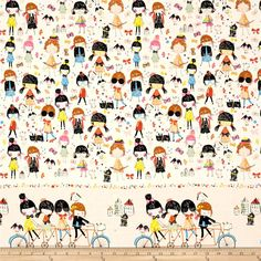 "From the DeLeon Group for Alexander Henry, this cotton print fabric features the hundreds of fashion choices girls can make in a single day. It also has a single border, measuring approximately 8.5"". Perfect for quilting, apparel and home decor accents. Colors include cream, black, blue, shades of orange, mint, yellow, pastel yellow, shades of brown and pink and nude."