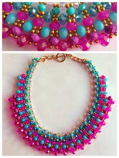 Hola chicas, les dejamos un diseño fabuloso de un collar que pueden hacer con los cristales rosas, ¿quieres aprender a hacerlo? Ven a PietRas y te enseñamos como