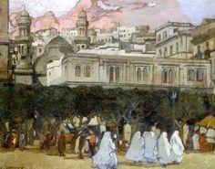 Peinture Algérie - Place du gouvernement à Alger par Léon Cauvy