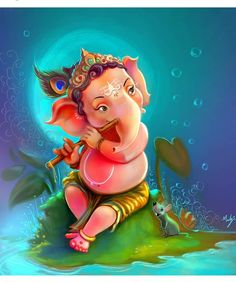 Make this Ganesha Chathurthi 2020 special with rituals and ceremonies. Lord Ganesha is a powerful god that removes Hurdles, grants Wealth, Knowledge & Wisdom. Arte Ganesha, Arte Krishna, Ganesha Drawing, Lord Ganesha Paintings, Ganesh Wallpaper, Happy Ganesh Chaturthi Images, Art Paintings, Watercolor Paintings, Indian Paintings
