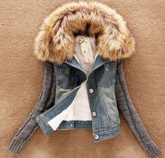 Ghope cool Fashion Jean Blouson Manteau Capuche-Veste en jean-Coat Hoodie Populaire - Femme veste en jean Idéal pour le printemps automne et hiver bleu cool avec col en fausse fourrure taille d'Asie S-XXXXL Col en laine polaire Nagymaros Slim Denim Short coton à manches veste femmes col de fausse fourrure bleu (Asie XXXXL/ EU L) Ghope http://www.amazon.fr/dp/B00NXD67S0/ref=cm_sw_r_pi_dp_rC9xub0XTM2JG