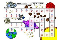 Space Fraction Game involves adding fractions    A game involving adding fractions with denominators of 2, 3, 4, 6, 8, 12 which all have factors in common. The numerators are 1, 2, or 3. Students roll a die and and move that number of spaces on the game board. They pick up a card and add it to the space they landed on. If correct they stay on that spot, if incorrect they move back to where they started. Play continues until one player reaches the finish. School Fun, School Stuff, Middle School, School Ideas, 5th Grade Math, Grade 3, Second Grade, Adding Fractions, Adding And Subtracting Fractions