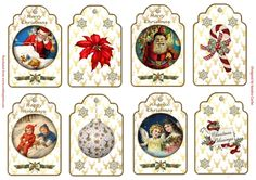 Vintage Christmas Gift Tags x 8 by Sandra Carlse There are 8 vintage Christmas gift tags on this sheet that will look lovely on your…