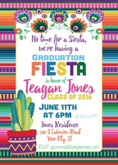 No time for a siesta, were having a GRADUATION FIESTA! Get your fiesta started right with this colorful serape blanket digital invitation.  I will customize this 4x6 or 5x7 digital invitation for you to print at home or at your favorite print center (staples, office depot, costco, walgreens, etc.)!  When ordering, after adding this item to your cart, please note the following in the Notes to Seller section: --Graduates Name --Party Date and Time --Party Location and Address --RSVP…