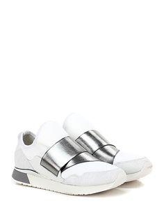 Crime - Sneakers - Donna - Sneaker in pelle stampata effetto rettile e tessuto tecnico elasticizzato con applicazione in pvc e suola in gomma. Tacco 30. - WHITE\SILVER - € 159.00