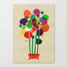 Happy flowers in the vase Stretched Canvas by Budi Satria Kwan - $85.00