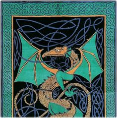 Celtic English Dragon - Green - Tapestry or Bedspread.  Higher than usual quality; good printing, saturation.