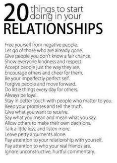 20 things to start doing in your relationships #Relationships #Mindfulness