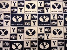 Cheer on the cougars with Brigham Young College Logo Cotton Fabric available from Fabric Center's Online Store! shop.fabriccenter.net #fabriccenter #BYU #BYUfabric