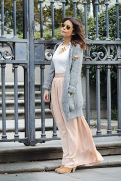 love the long sweater with a maxi skirt