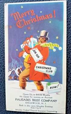 Vintage Advertising Blotter~Palisades Trust Co.~Englewood, New Jersey~Christmas