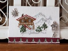 ATC La Suisse Mini Cross Stitch, Travel Cards, Pocket Letters, Le Point, Mail Art, Atc, Needlework, Lettering, Embroidery