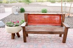 Build your own tailgate bench using this simple tutorial.  It can easily be built in just a few hours and is such a great conversation piece or gift for Father's Day!