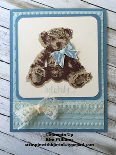 handmade baby card ... adorable three stamp teddy bear .. in blue ... lu the lace ribbon in perfect bow ... Stampin' Up!