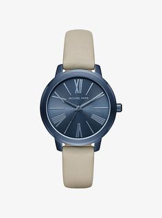 Hartman Navy-Tone And Leather Watch