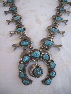 Signed Vintage NAVAJO Sterling Silver & Turquoise SQUASH BLOSSOM Necklace, Dorothy Secatero