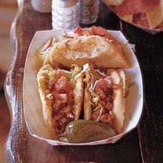 Puffy Tacos by Saveur. The signature creation of San Antonio's Tex-Mex cuisine is the puffy taco. Mexican Dishes, Mexican Food Recipes, Beef Recipes, Cooking Recipes, Spanish Recipes, Cooking Tips, Chicken Recipes, Healthy Recipes, Huevos Rancheros