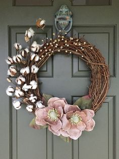 SALE---Magnolia Cotton Ball wreath - with sparkly champagne and light pink splash!