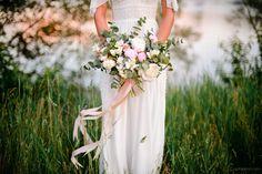 Boho wedding. Bride. Love story. Natural. Fine art. Photoshoot.  Couple. wreath , bouquet , floral , canoe , boat , decoration