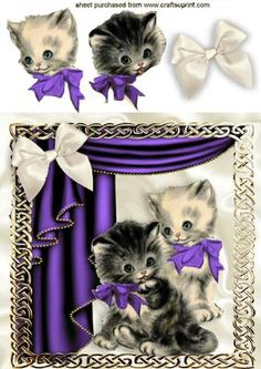 VINTAGE KITTENS IN PURPLE IN ORNATE FRAME WITH DRAPES on Craftsuprint - Add To Basket!