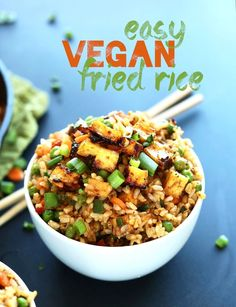 Vegan Fried Rice Minimalist Baker Recipes - Easy Vegan Fried Rice Loaded With Tender Vegetables Crispy Baked Tofu And Tons Of Flavor A Healthy Satisfying Plant Based Side Or Entree Vegetarian Rice Recipes, Veggie Recipes, Whole Food Recipes, Healthy Recipes, Recipes Dinner, Vegan Recipes Chinese, Recipes With Tofu Healthy, Indian Recipes, Shrimp Recipes