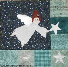 Check out block 6 of the 'I Wish You a Merry QAL'. The block features some simple piecing and cute angel applique. Beginner Quilt Patterns, Quilting For Beginners, Diy Christmas Stocking Pattern, Christmas Angels, Christmas Crafts, Xmas Wishes, Winter Quilts, Sampler Quilts, Quilting Designs