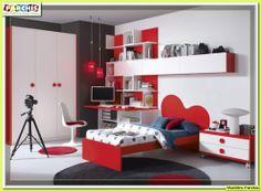 cama individual con cabecero en forma de nube. en color blanco y rojo