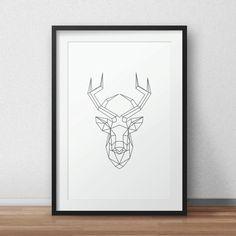 Geometric Deer Deer art Deer origami Black by AnnyDigitalDesign